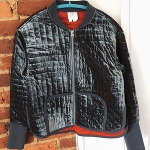 Quilted velvet bomber jacket
